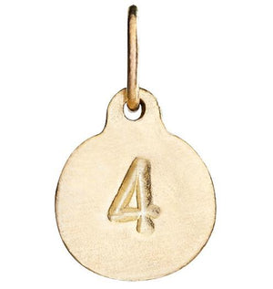 """4"" Number Charm Jewelry Helen Ficalora 14k Yellow Gold"