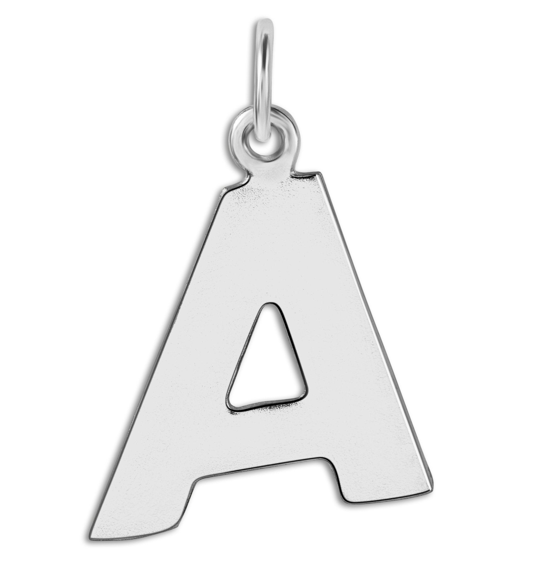 """A"" Cutout Letter Charm Sterling Silver Jewelry For Necklaces And Bracelets From Helen Ficalora Every Letter And Initial Available"