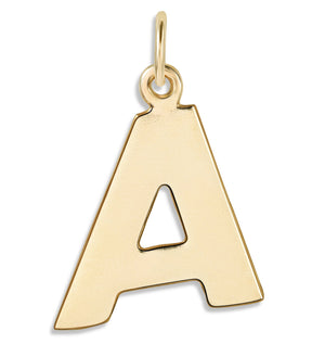"""A"" Cutout Letter Charm 14k Yellow Gold Jewelry For Necklaces And Bracelets From Helen Ficalora Every Letter And Initial Available"