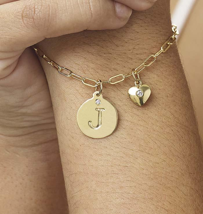 """K"" Alphabet Charm 14k Yellow Gold With Diamond Jewelry For Necklaces And Bracelets From Helen Ficalora Every Letter And Initial Available"