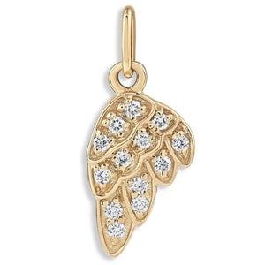 Angel Wing Mini Charm Pavé Diamonds Jewelry Helen Ficalora 14k Yellow Gold For Necklaces And Bracelets