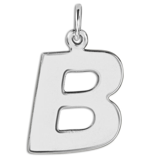 """B"" Cutout Letter Charm Sterling Silver Jewelry For Necklaces And Bracelets From Helen Ficalora Every Letter And Initial Available"