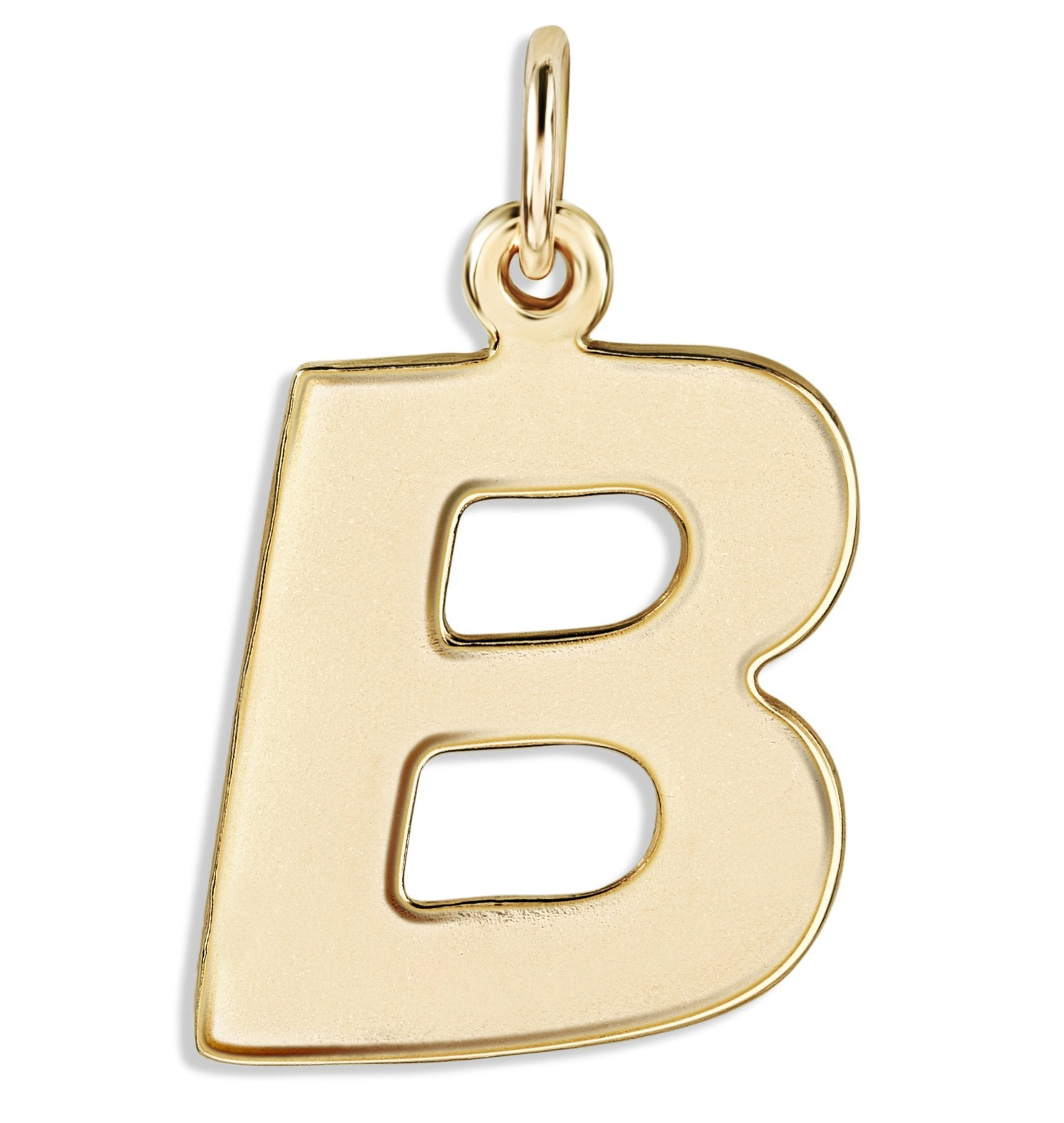 """B"" Cutout Letter Charm 14k Yellow Gold Jewelry For Necklaces And Bracelets From Helen Ficalora Every Letter And Initial Available"