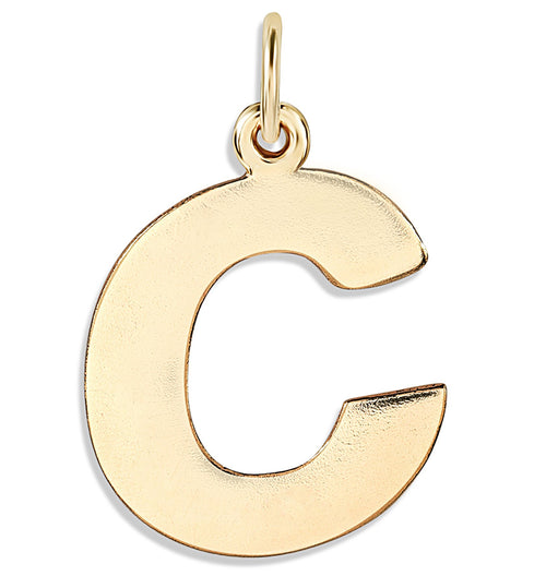 """C"" Cutout Letter Charm 14k Yellow Gold Jewelry For Necklaces And Bracelets From Helen Ficalora Every Letter And Initial Available"