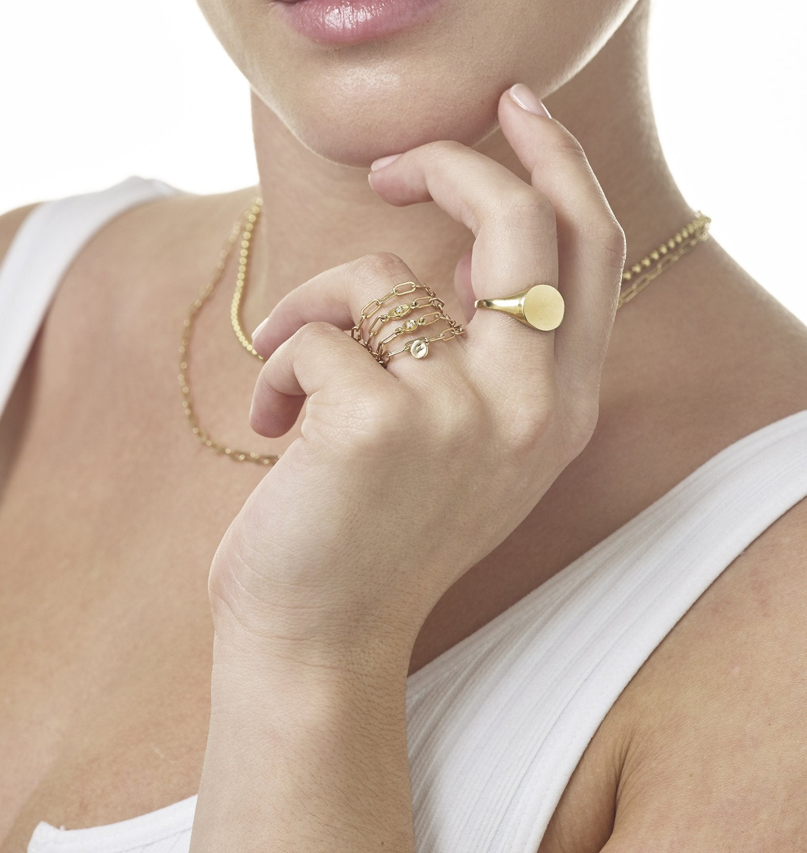 Chain Ring With Oval Diamond - Helen Ficalora Jewelry - 14k Yellow Gold