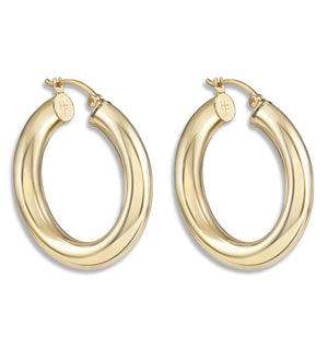Chunky Hoop Earrings - Helen Ficalora Jewelry - 14k Yellow Gold