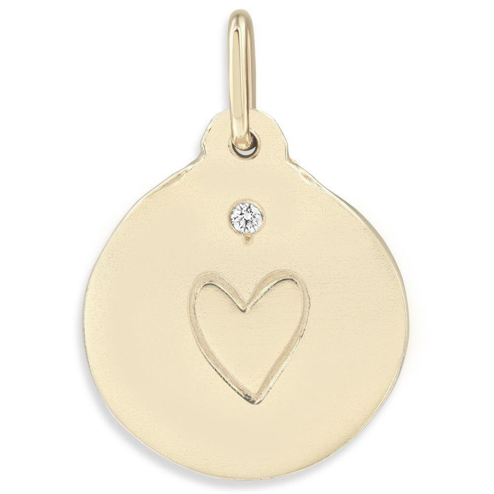 Stamped Heart Charm With Diamond Jewelry Helen Ficalora 14k Yellow Gold For Necklace And Bracelet