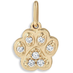 Paw Print Mini Charm Pavé Diamonds For Necklaces And Bracelets 14k Yellow Gold