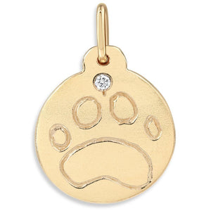 Helen Ficalora Paw Print Charm With Diamond For Necklaces And Bracelets 14k Yellow Gold