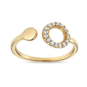 Hole-Dot Ring Pavé Diamonds Jewelry Helen Ficalora 14k Yellow Gold