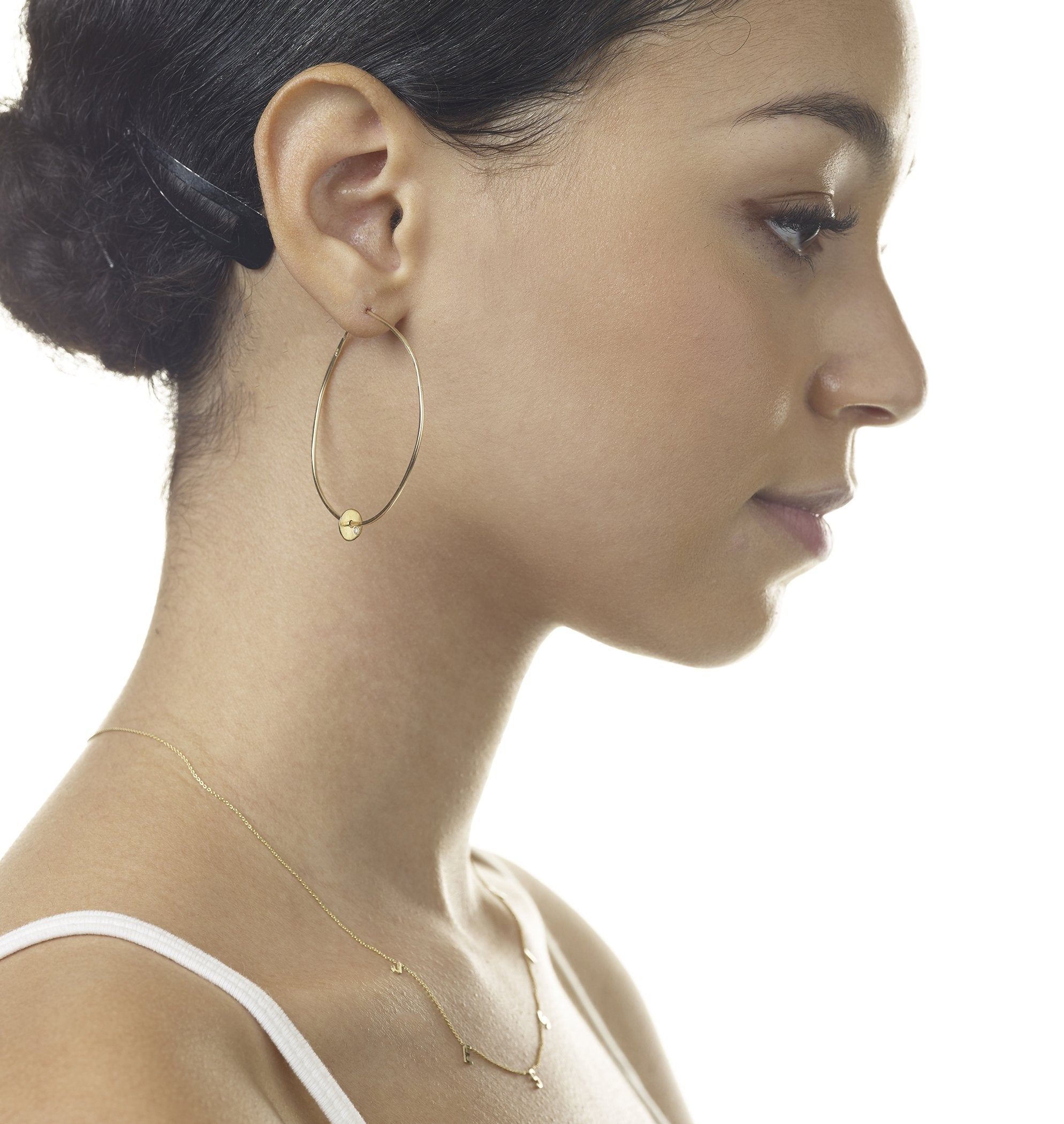 Large Hoop Earrings With Diamond Disk - Yellow Gold - Helen Ficalora Jewelry