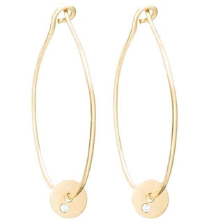 Medium Hoop Earrings With Diamond Disk - Yellow Gold - Helen Ficalora Jewelry