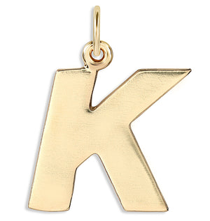 """K"" Cutout Letter Charm 14k Yellow Gold Jewelry For Necklaces And Bracelets From Helen Ficalora Every Letter And Initial Available"