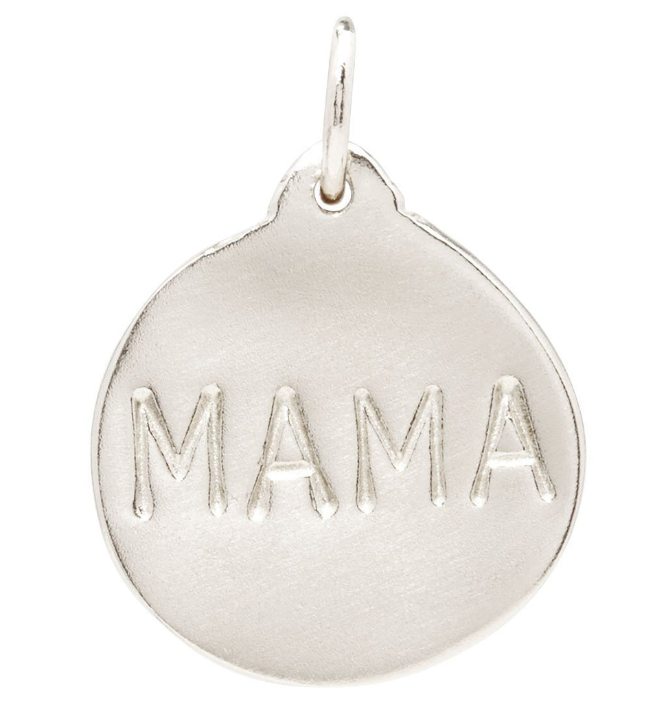 """Mama"" Disk Charm Jewelry Helen Ficalora 14k White Gold For Necklaces And Bracelets"