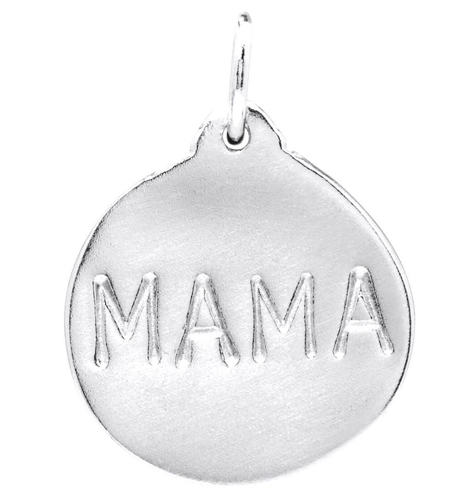 """Mama"" Disk Charm Jewelry Helen Ficalora Sterling Silver For Necklaces And Bracelets"