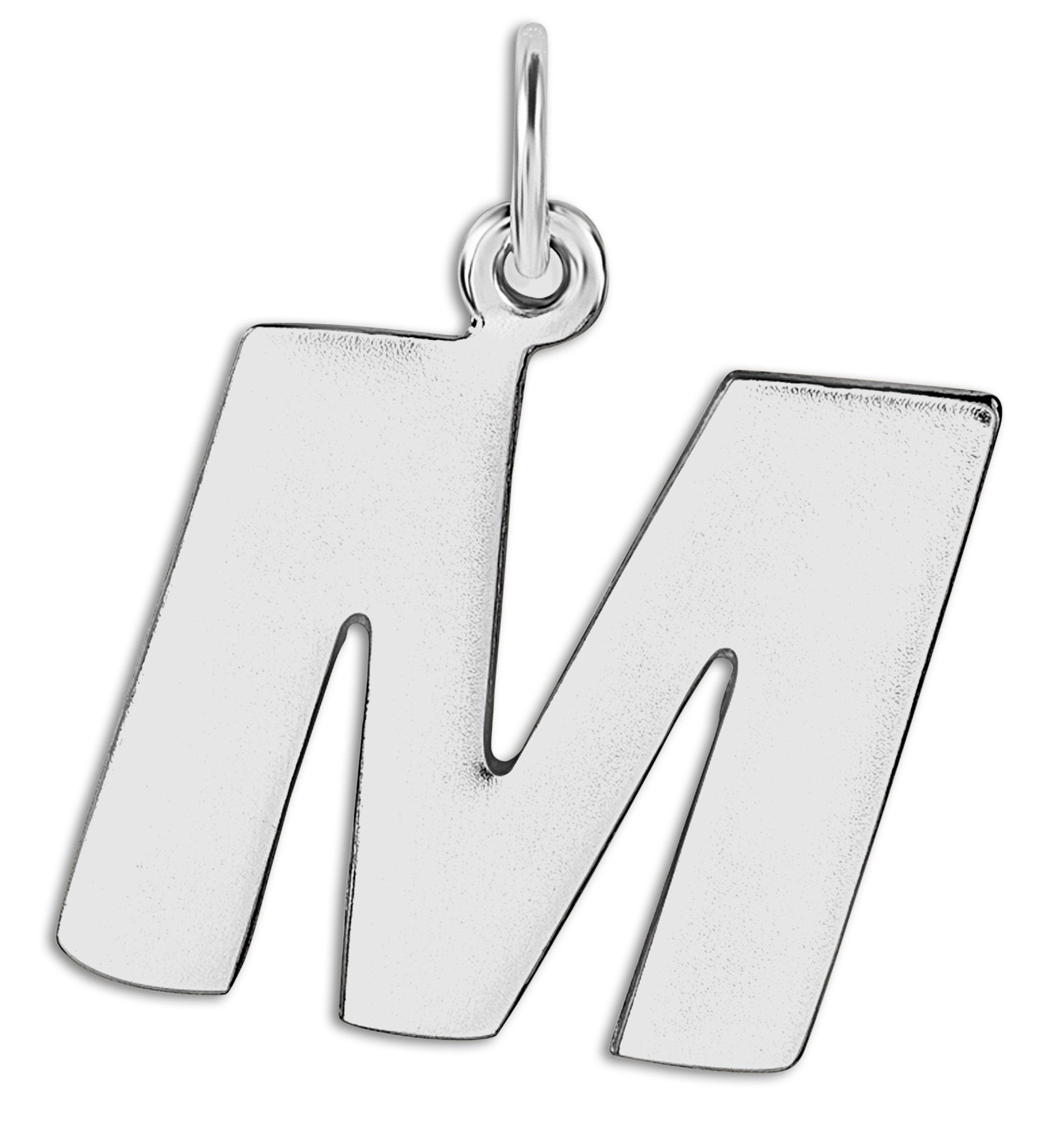 """M"" Cutout Letter Charm Sterling Silver Jewelry For Necklaces And Bracelets From Helen Ficalora Every Letter And Initial Available"