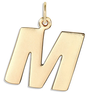 """M"" Cutout Letter Charm 14k Yellow Gold Jewelry For Necklaces And Bracelets From Helen Ficalora Every Letter And Initial Available"