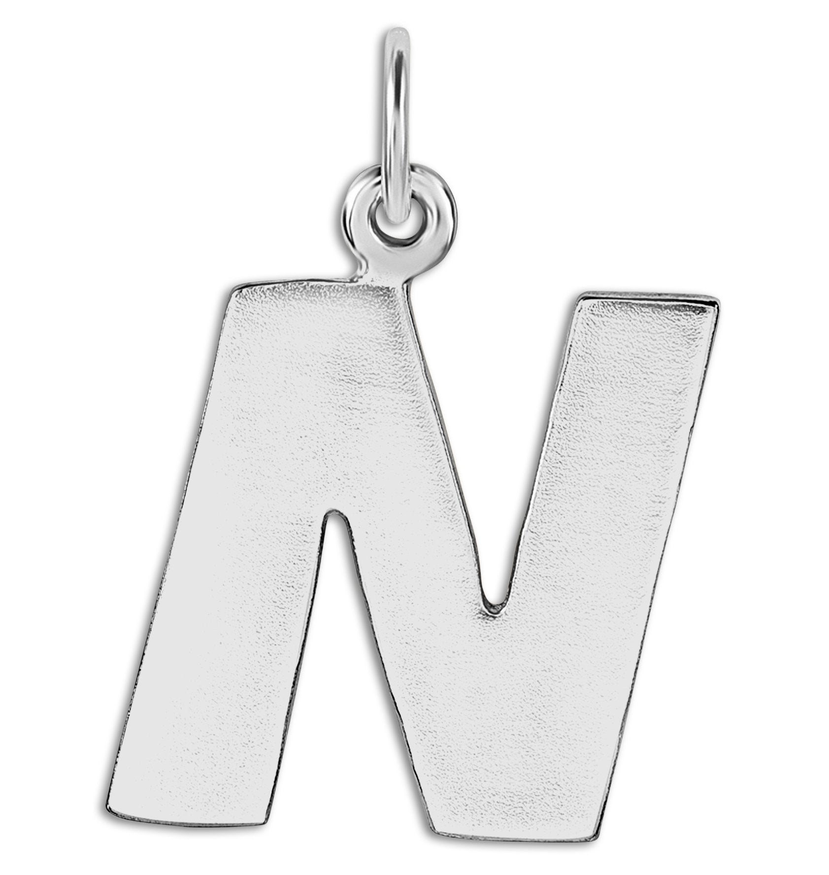 """N"" Cutout Letter Charm Sterling Silver Jewelry For Necklaces And Bracelets From Helen Ficalora Every Letter And Initial Available"