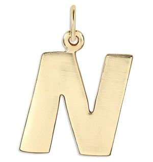 """N"" Cutout Letter Charm 14k Yellow Gold Jewelry For Necklaces And Bracelets From Helen Ficalora Every Letter And Initial Available"