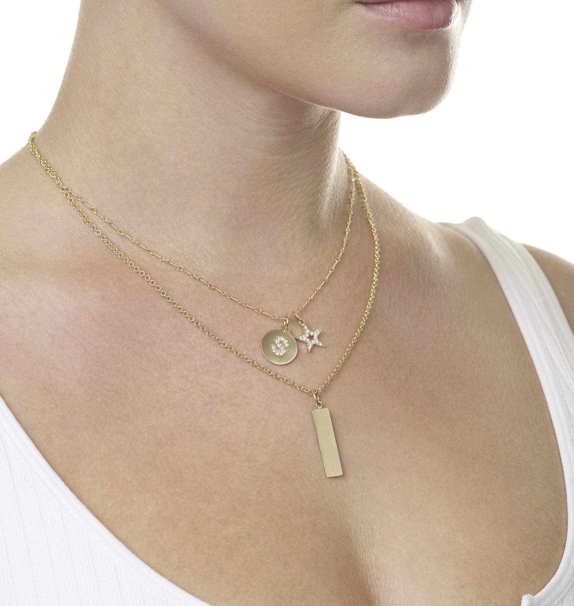 Bar Charm With Name Engraved In Letters For Necklaces And Bracelets 14k Yellow Gold