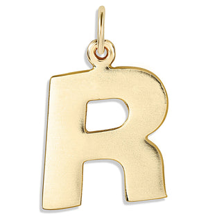 """R"" Cutout Letter Charm 14k Yellow Gold Jewelry For Necklaces And Bracelets From Helen Ficalora Every Letter And Initial Available"