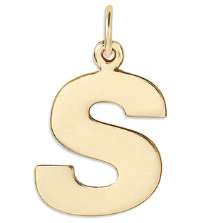"""S"" Cutout Letter Charm 14k Yellow Gold Jewelry For Necklaces And Bracelets From Helen Ficalora Every Letter And Initial Available"