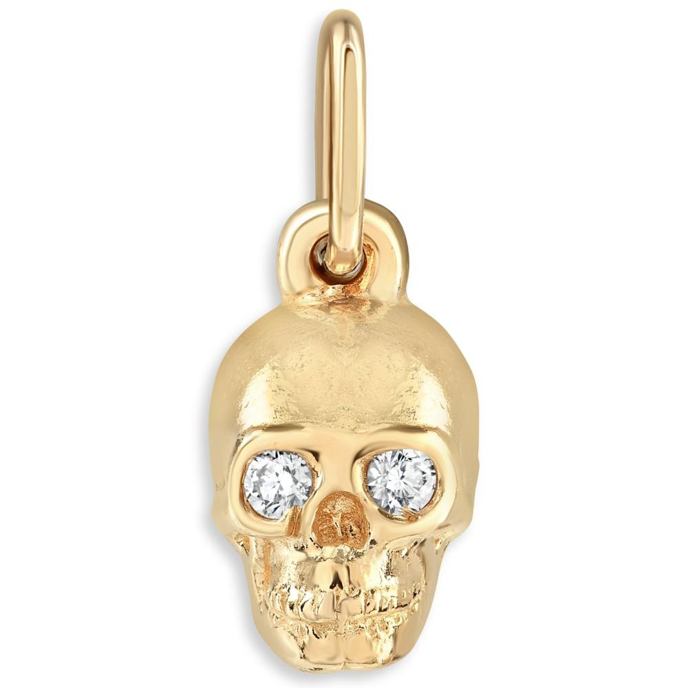 Skull Mini Charm With Diamonds Jewelry Helen Ficalora 14k Yellow Gold For Necklaces And Bracelets