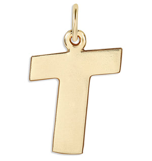"""T"" Cutout Letter Charm 14k Yellow Gold Jewelry For Necklaces And Bracelets From Helen Ficalora Every Letter And Initial Available"