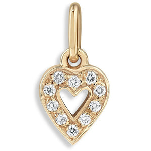 Tiny Heart Charm Pave Diamonds For Necklaces And Bracelets 14k Yellow Gold Helen Ficalora