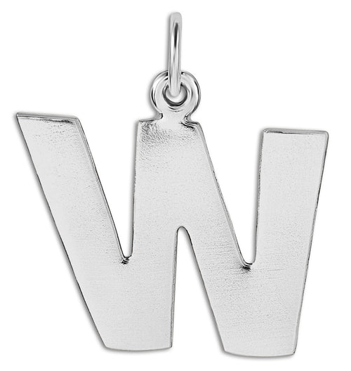 """W"" Cutout Letter Charm Sterling Silver Jewelry For Necklaces And Bracelets From Helen Ficalora Every Letter And Initial Available"