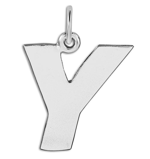 """Y"" Cutout Letter Charm Sterling Silver Jewelry For Necklaces And Bracelets From Helen Ficalora Every Letter And Initial Available"