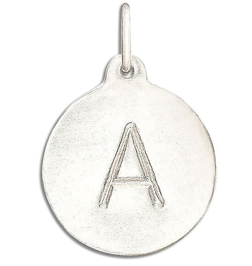 """A"" Alphabet Charm 14k White Gold Jewelry For Necklaces And Bracelets From Helen Ficalora Every Letter And Initial Available"