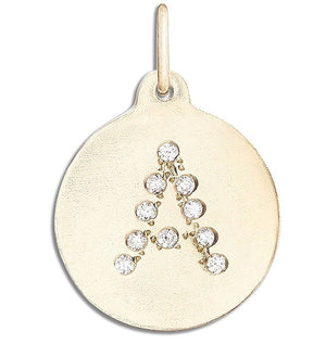 """A"" Alphabet Charm 14k Yellow Gold Pavé Diamond Jewelry For Necklaces And Bracelets From Helen Ficalora Every Letter And Initial Available"