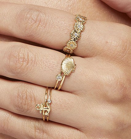 Scallop Shell Stacking Ring Jewelry Helen Ficalora 14k Yellow Gold