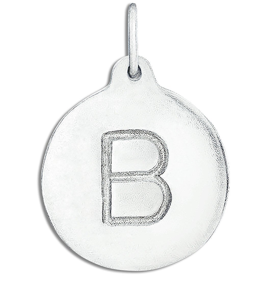 """B"" Alphabet Charm Sterling Silver Jewelry For Necklaces And Bracelets From Helen Ficalora Every Letter And Initial Available"
