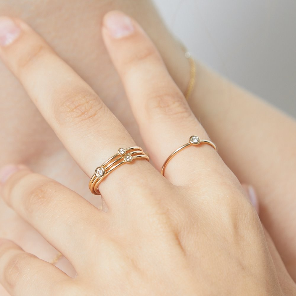 Helen's Birth Jewel Stacking Ring lovingly crafted in New York. Made With Solid 14k Gold. Size: US 5, 6, 7. Gift Wrapped. Free Express Shipping.
