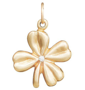 Clover Flower Charm With Diamond Jewelry Helen Ficalora 14k Yellow Gold