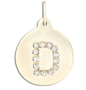 """D"" Alphabet Charm 14k Yellow Gold Pavé Diamond Jewelry For Necklaces And Bracelets From Helen Ficalora Every Letter And Initial Available"