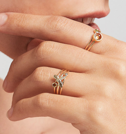Dragonfly Stacking Ring Jewelry Helen Ficalora 14k Yellow Gold 6