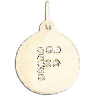 """F"" Alphabet Charm Pavé Diamonds Jewelry Helen Ficalora 14k Yellow Gold  For Necklaces And Bracelets"