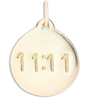 """11:11"" Disk Charm Jewelry Helen Ficalora 14k Yellow Gold"