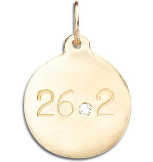 """26.2"" Marathon Disk Charm With Diamond Jewelry Helen Ficalora 14k Yellow Gold For Necklaces And Bracelets"