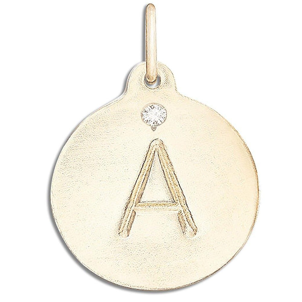 """A"" Alphabet Charm with Diamond Jewelry Helen Ficalora 14k Yellow Gold For Necklaces And Bracelets"