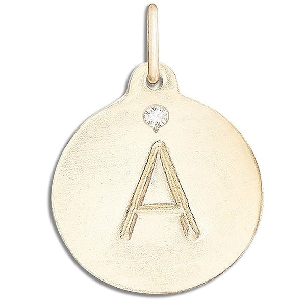 """A"" Alphabet Charm with Diamond - 14k Yellow Gold - Jewelry - Helen Ficalora - 1"