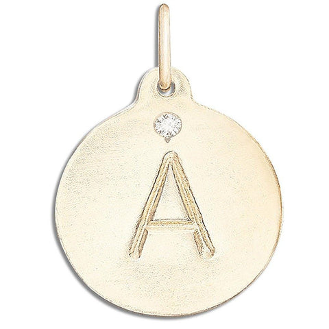 """A"" Alphabet Charm with Diamond Jewelry Helen Ficalora 14k Yellow Gold"