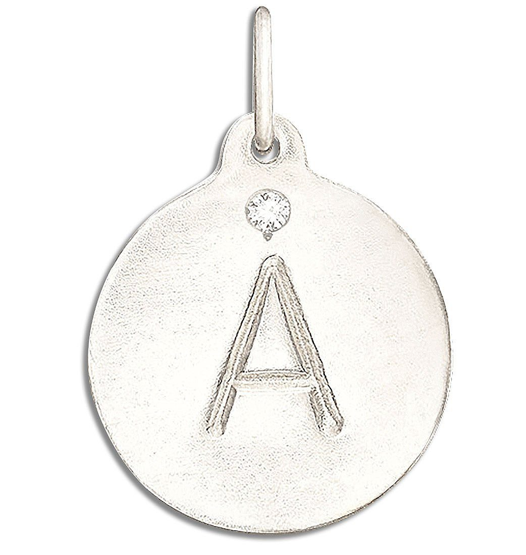 """A"" Alphabet Charm 14k White Gold With Diamond Jewelry For Necklaces And Bracelets From Helen Ficalora Every Letter And Initial Available"