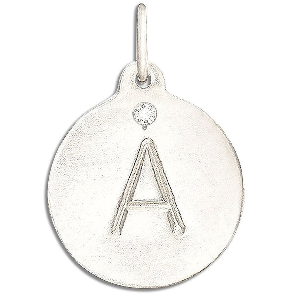 """A"" Alphabet Charm with Diamond Jewelry Helen Ficalora 14k White Gold For Necklaces And Bracelets"