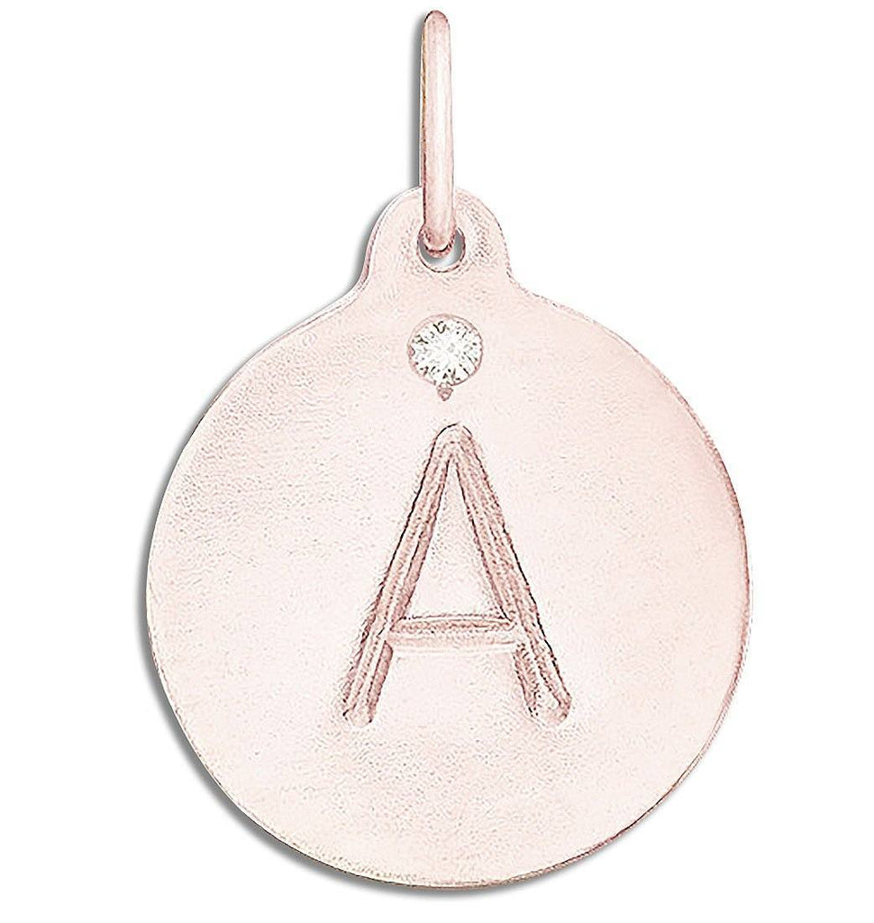 """A"" Alphabet Charm with Diamond Jewelry Helen Ficalora 14k Pink Gold For Necklaces And Bracelets"