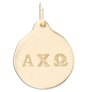 """Alpha Chi Omega"" Disk Charm Jewelry Helen Ficalora 14k Yellow Gold For Necklaces And Bracelets"