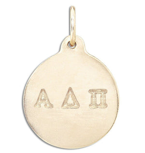 """Alpha Delta Pi"" Disk Charm Jewelry Helen Ficalora 14k Yellow Gold For Necklaces And Bracelets"